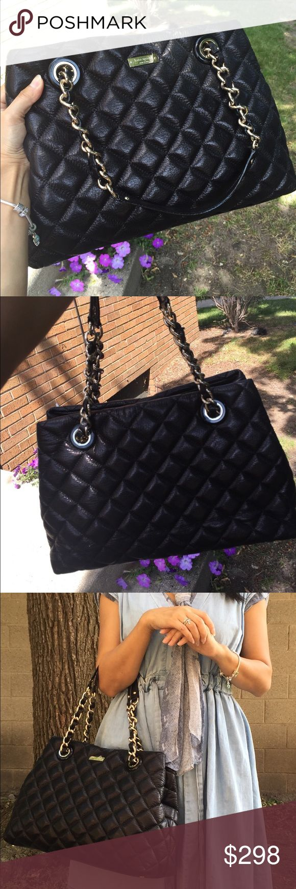 "NWT Kate Spade Quilted Leather Gold Coast Tote Soft quilted leather with beautiful shimmering finish; Classic black color;Front signature logo; Double shoulder stripes with chain details. Very nice daily working bag; 14""X10""X5""; Sold out everywhere! kate spade Bags Totes"