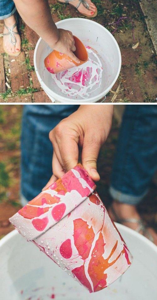 Nail Polish Marbled DIY Planters - Shelterness
