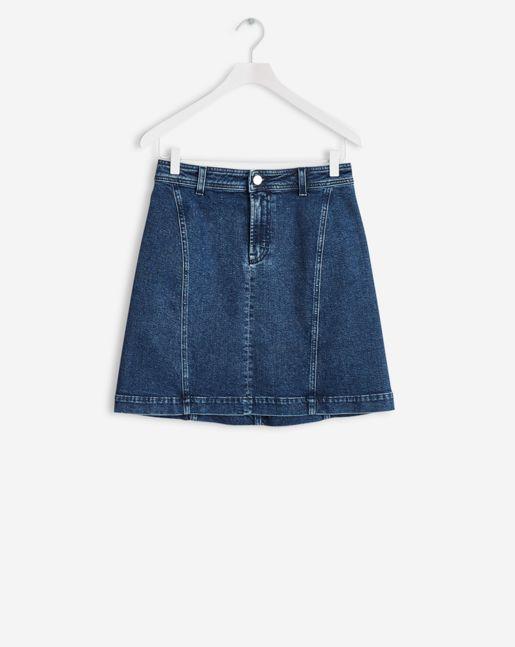 Filippa K   A-lined denim skirt dark blue