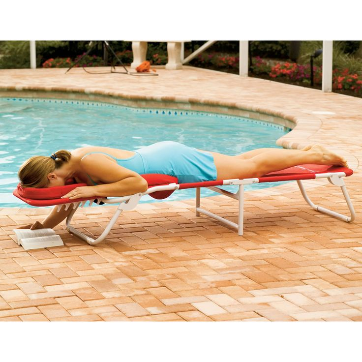 The Ergonomic Beach Lounger - The sloping headrest has a massage-table style face opening that allows you to lie prone and read in comfort without cervical hyperextension or neck strain. When you are lying in a supine position, the headrest pillow supports the neck from behind, creating a gentle stretch for the vertebrae to reduce stress and pressure on nerves and disks.