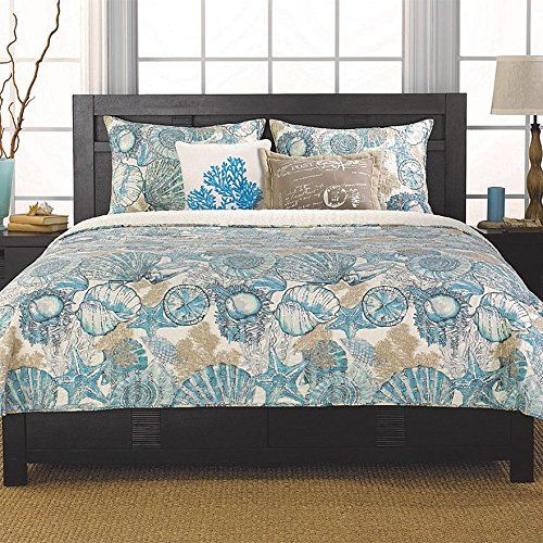 Nautical Bedding King: Brushed Ashore Beach House Coastal 3 Piece King Size Quilt