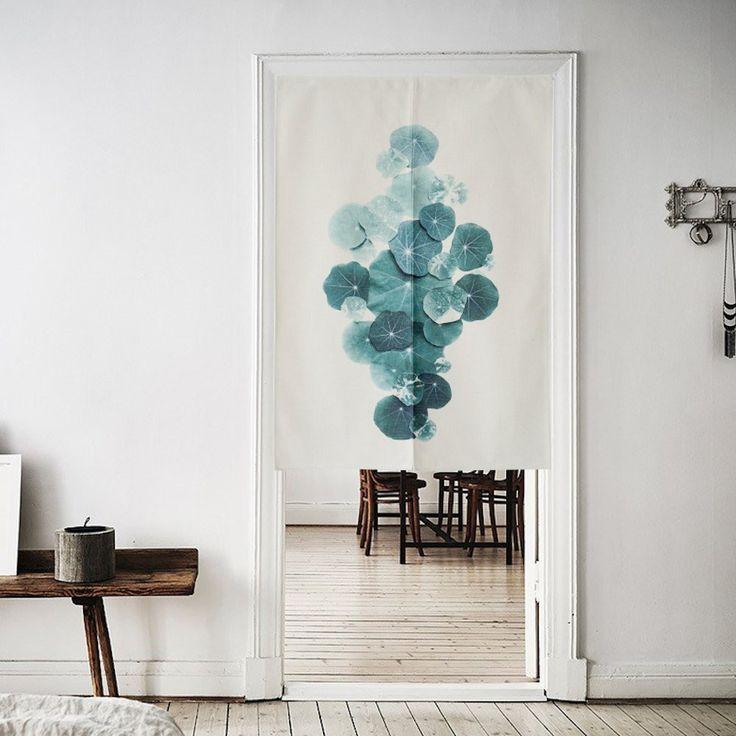 "Japanese Noren Doorway Curtain Tapestry 33.5"" Width x 47.2"" Long , Green lotus"