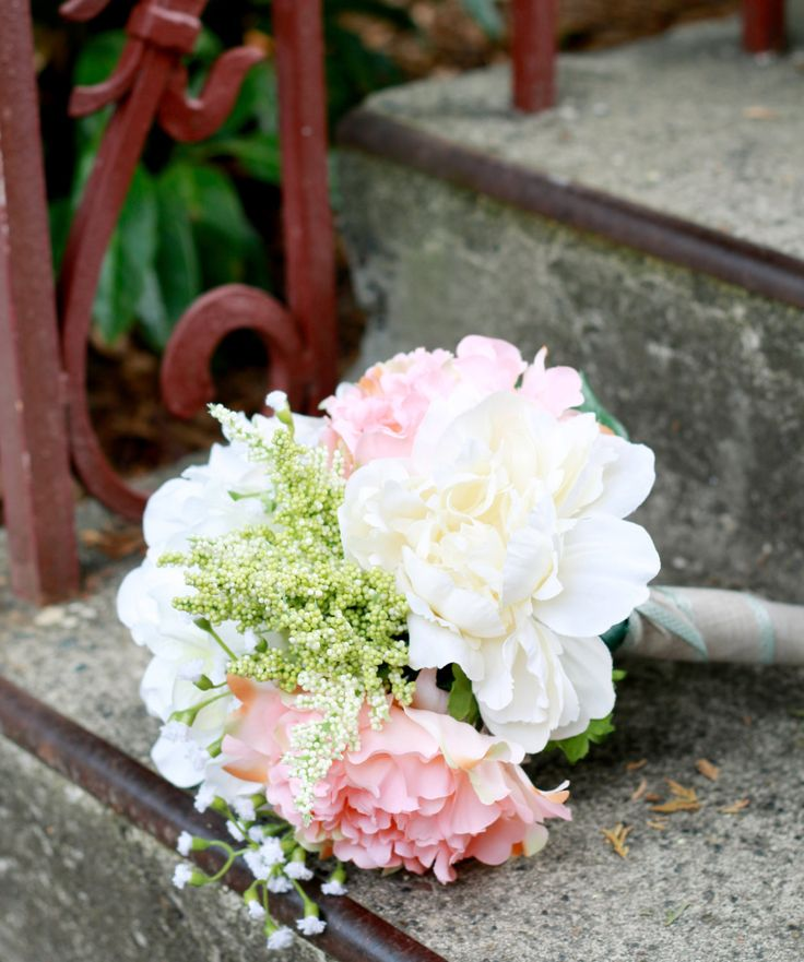 Silk Peony Coral Ivory Wedding Bouquet, Peony (Coral and Ivory), Hydrangea, and Baby's Breath - Silk Bouquet