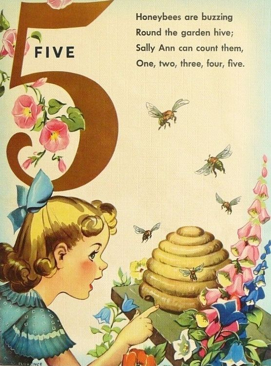 1940s children's linen storybook page with beehive and bees, by Florence Sarah Winship. Linen books were so-called because they used heavy weight textured paper that resembled cloth.