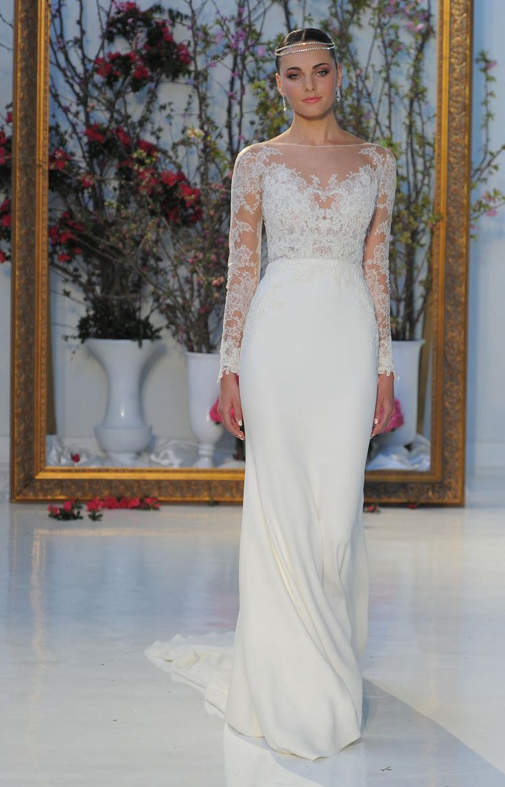 White gown with lace long sleeves | Anne Barge Spring 2017 | https://www.theknot.com/content/anne-barge-wedding-dresses-bridal-fashion-week-spring-2017
