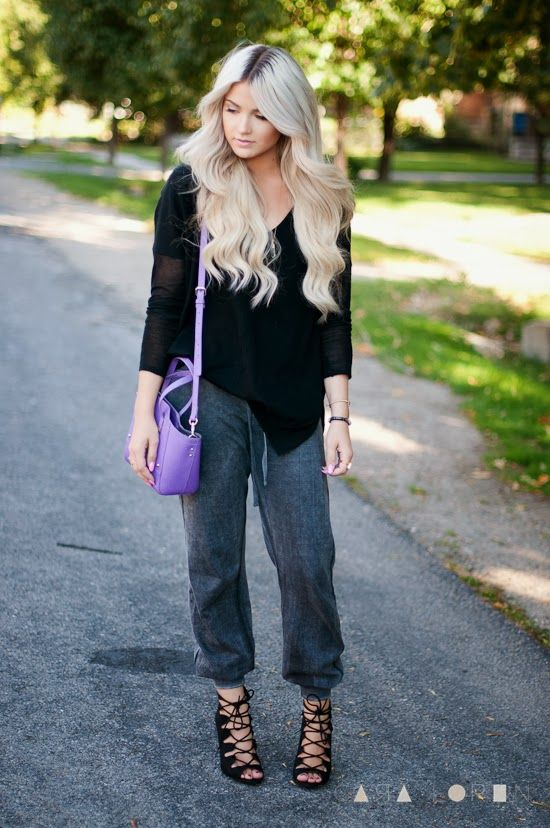 How to make slouchy sweatpants look chic as hell!  Click the website to see how I lost 21 pounds in one month with free trials