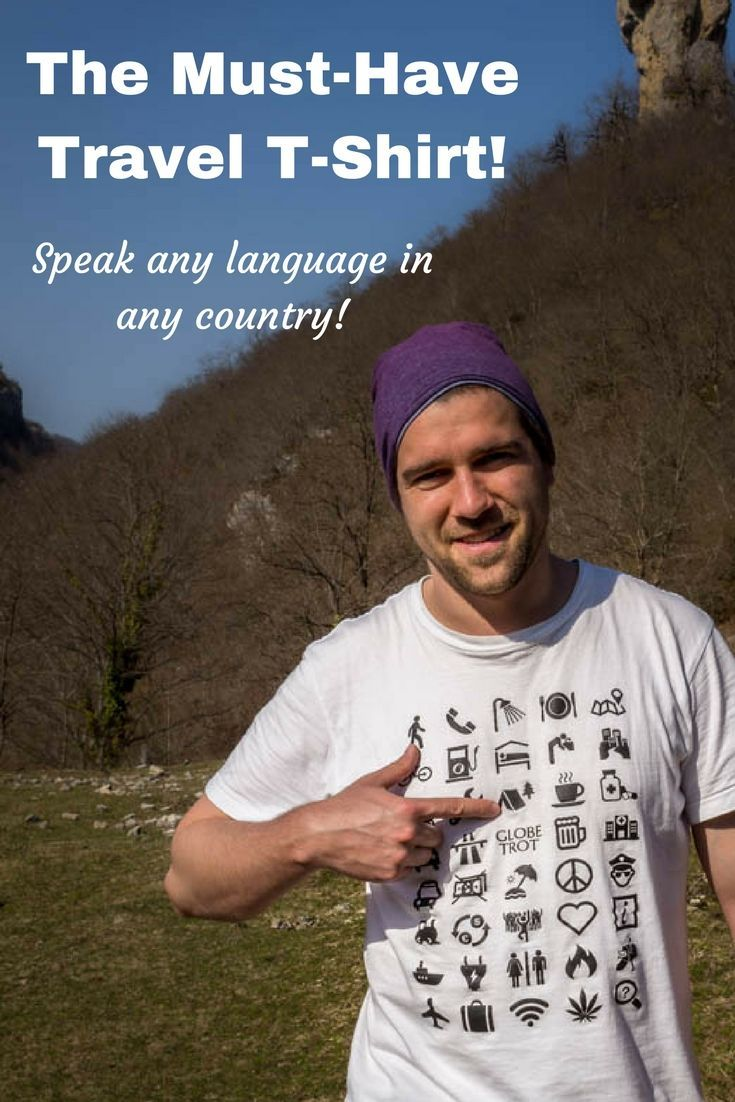 This awesome travel T-shirt helps you to communicate with everyone around the world by just using 40 different symbols. - Journal of Nomads
