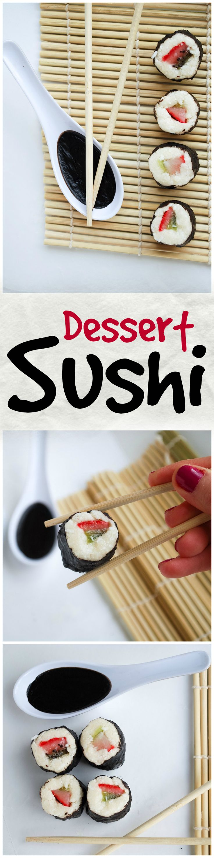 Dessert Sushi: A whimsical vegan and gluten free dessert that is sure to impress! Made with good-for-you whole food ingredients, this dessert is a healthy take on the Asian specialty! || fooduzzi.com