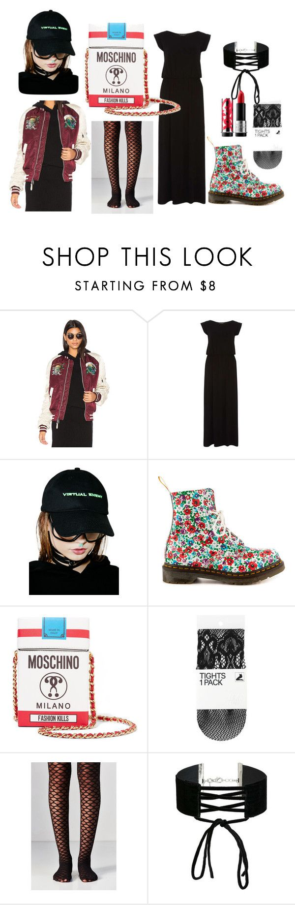 """#untitled3"" by yuna92 on Polyvore featuring Alpha Industries, Dorothy Perkins, Brashy, Dr. Martens, Moschino, Out From Under, Miss Selfridge and MAKE UP FOR EVER"