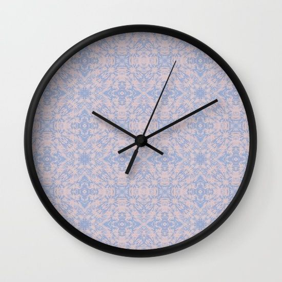 Light pink and blue tapestry patterned print wall clock. Especially nice for a twins bedroom.