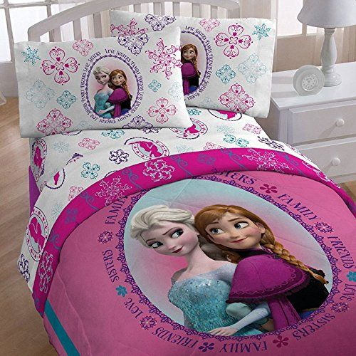 5pc Disney Frozen Full Bedding Set Anna and Elsa Snowflakes Comforter and Sheet Set Disney