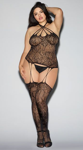 00e92feea3c Surprise your honey in this sexy plus size sheer bodystocking featuring  allover fishnet lace