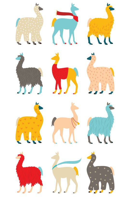 Patterned Llamas! And pattern inspiration galore from Ollibird's 365 Patterns project: Llama Llama by Alma of Ollibird