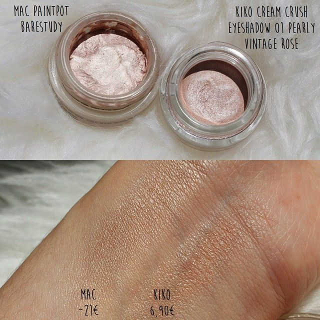 Budget dupe for MAC Paint Pot in Bare Study >> KIKO Cream Crush Eyeshadow in Pearly Vintage Rose