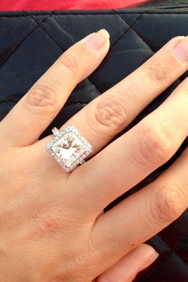 My New Baby 6 Carat Princess Cut Diamond With Halo Engagement