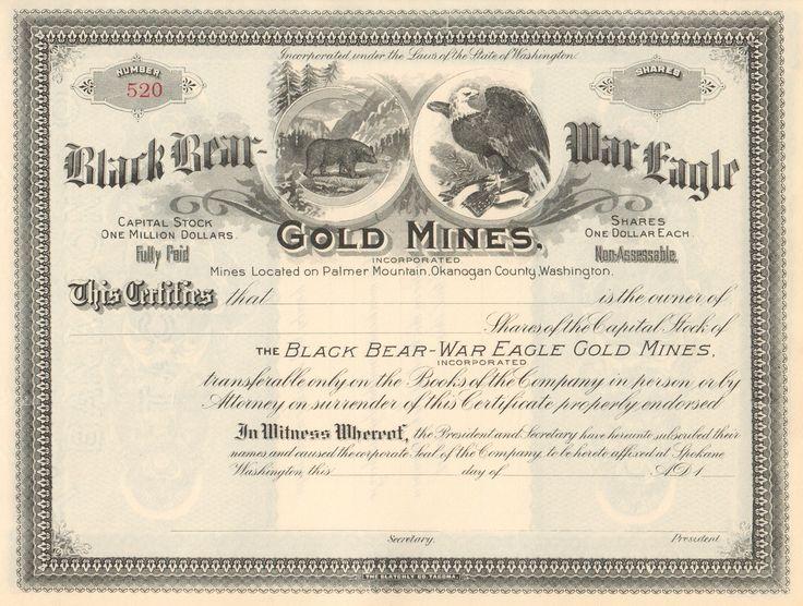Black Bear - War Eagle Gold Mines stock certificate circa 1899 - company share certificates
