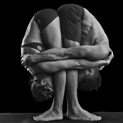 yoga hug...from a yoga perspective the flexibility is awesome. From a non-yoga/fitness perspective this is a little TOO close. Talk about bumping uglies, you better know the other person REALLY well before doing this
