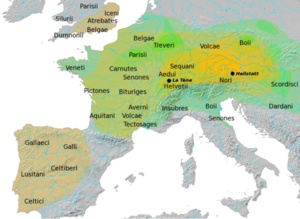 The Celts of Celtic were an ethno-linguistic group of tribal societies in Iron Age and Medieval Europe who spoke Celtic languages and had a similar culture.  The Celtic languages form a branch of the larger Indo-European family. By the time speakers of Celtic languages enter history around 400 BC, they were already split into several language groups, and spread over much of Western continental Europe, the Iberian Peninsula, Ireland and Britain.
