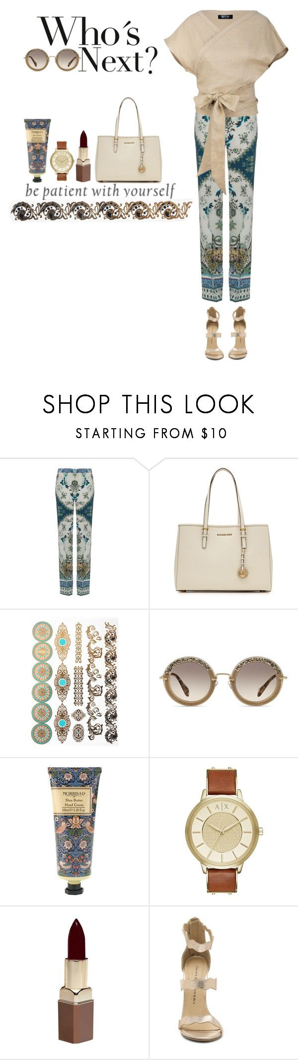 """""""Be patient"""" by fashionvek ❤ liked on Polyvore featuring Etro, MICHAEL Michael Kors, Miu Miu, William Morris, Armani Exchange, Fashion Fair and Mochi"""