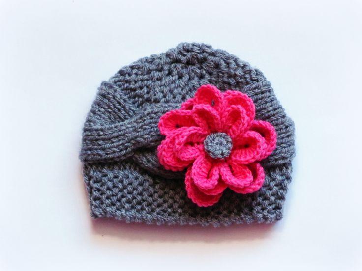 Bonnet bebe ,Bonnet tricoté pour fille avec des fleurs ,chapeau pour bébé : Mode Bébé par rose-rouge