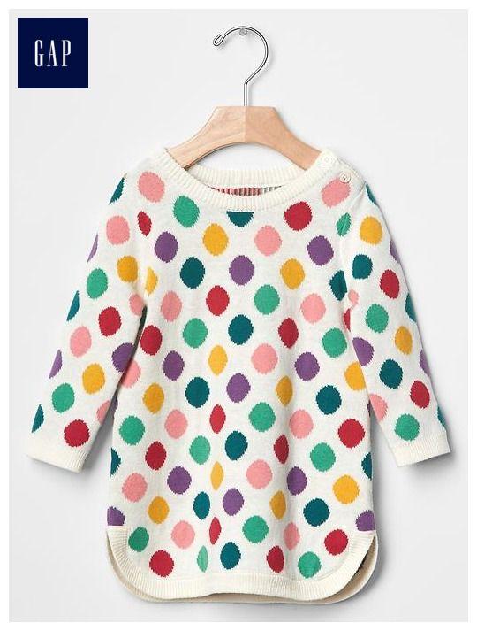 Multi-dot sweater dress 6-12 months