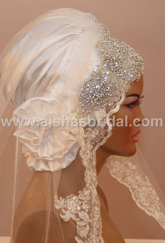 Ready To Wear Bridal Hijab  Code HGT341 by aishasbridal on Etsy, $195.37