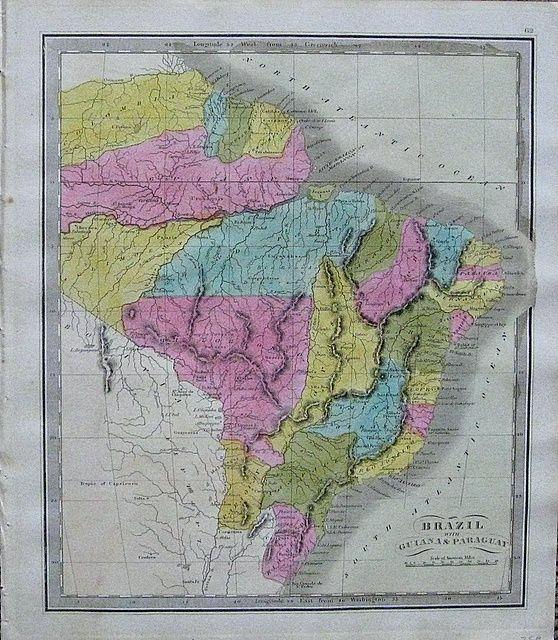 Antique-Map-Brazil-with-Guiana-&-Paraguay Maps of Antiquity South America