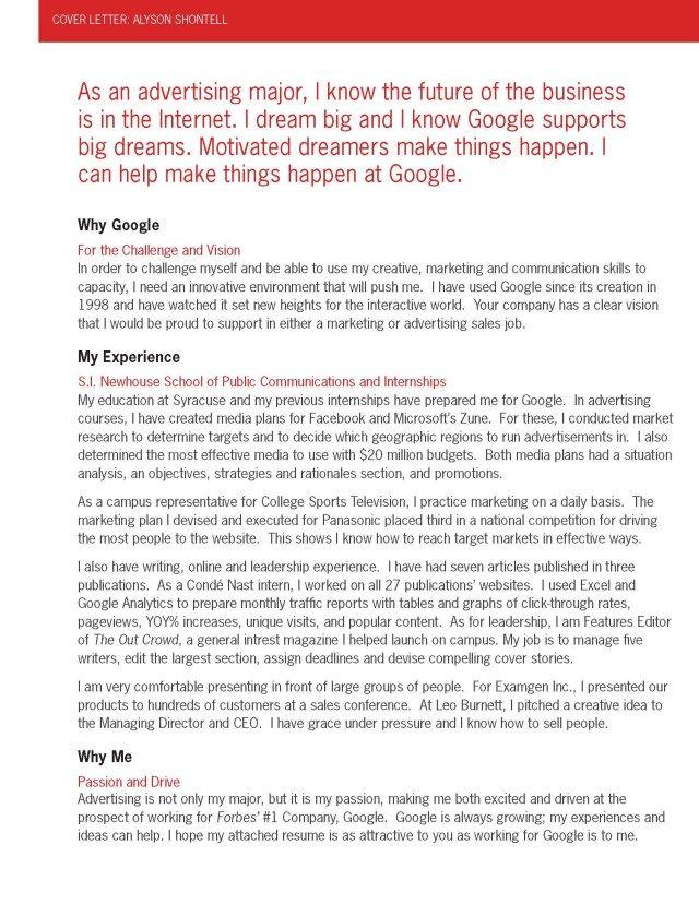 27+ Google Cover Letter Resume Cover Letter Example Sample