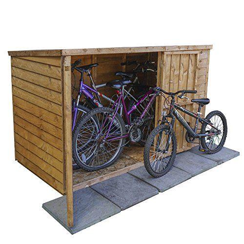 6x3 Overlap Wooden Garden Bike Store - Double Doors Pent Roof Felt Garden Shed---179.95---