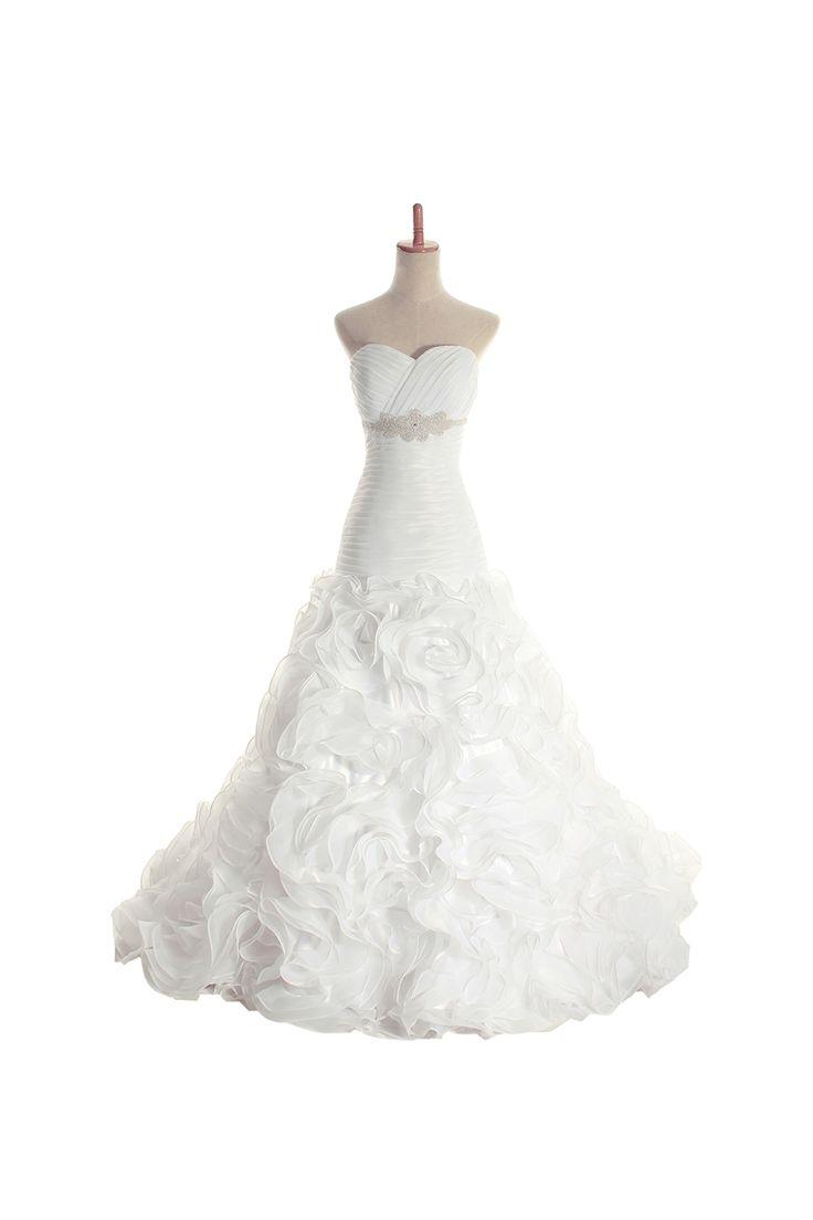Sweetheart empire waist ball gown organza wedding dress