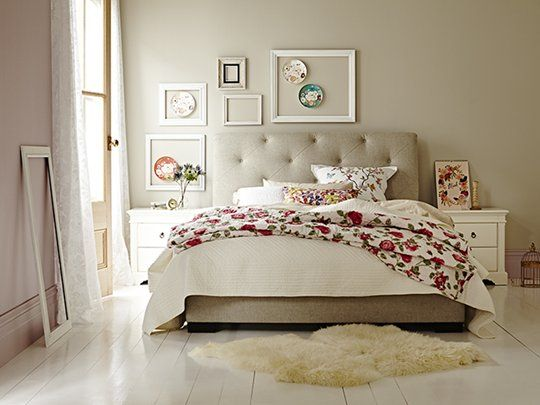 Memphis Scrolled Oatmeal Bed Frame: Queen Bed Frame