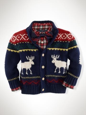 Ha Best Ugly Holiday Outfit Reindeer Mockneck Sweater Infant