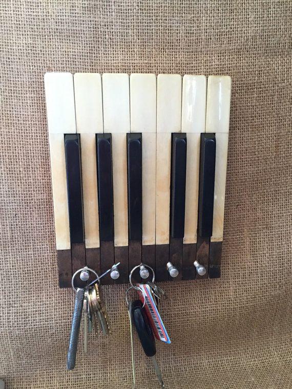 Ivory Piano key keyholder, Wall hanging, Piano keys, keyholder, piano decor…