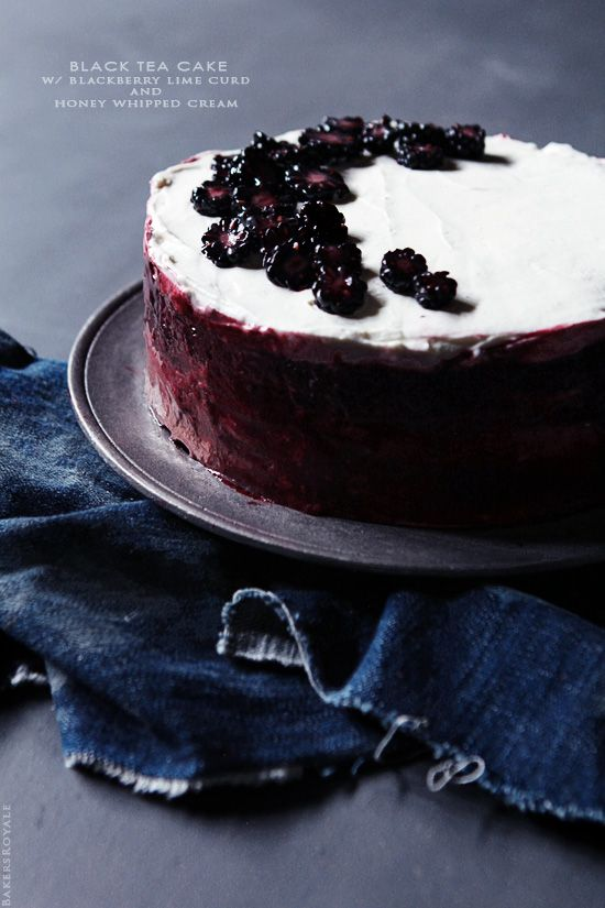 Black Tea Cake with Blackberry Curd and Honey Whipped Cream