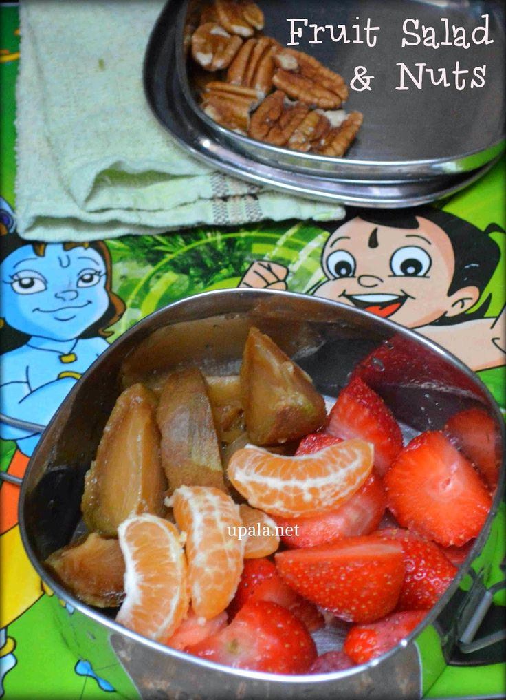 Fruits Salad and nuts http://www.upala.net/2015/03/fruits-salad-and-nuts-kids-lunch-box.html