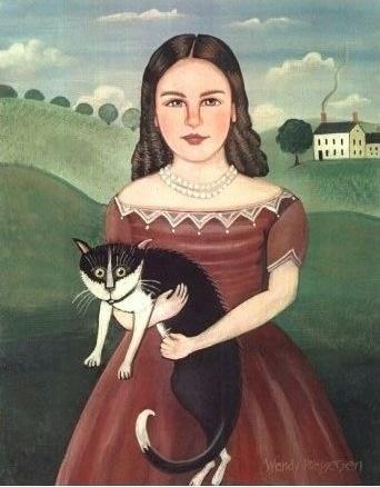 Folk Art GIRL and her TUXEDO CAT an Original by SeaGardenCottage