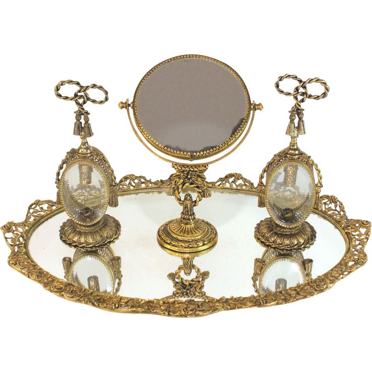 Guildcrest 24K Gold plated Mirrored Vanity Plateau with