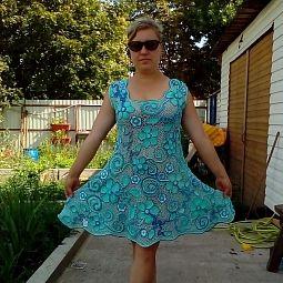 Ручная работа Платье Семь оттенков голубогоирландское кружево Связанное крючком