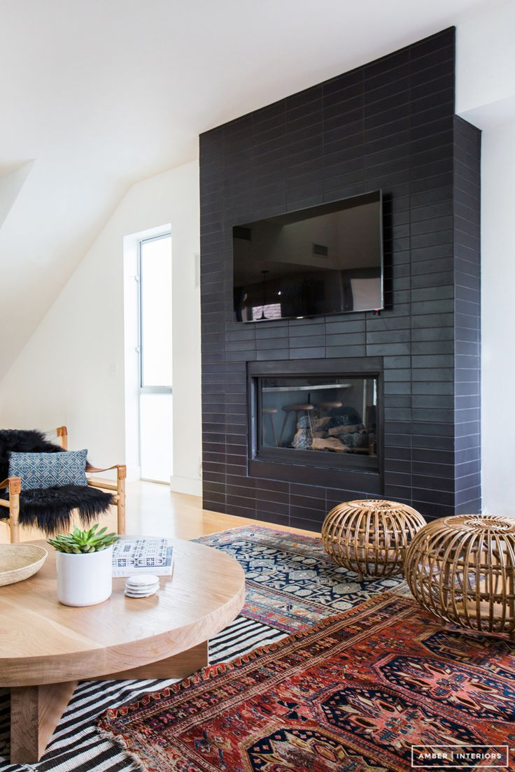 Living room small living room ideas with brick fireplace backsplash - Black Fireplace Amber Interiors Before After Client Z To The E To The N Photos By Tessa Neustadt