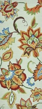 """Country & Floral Summerton Hallway Runner 2'0""""x5' Runner Ivory-Bright Area Rug tropical-rugs"""