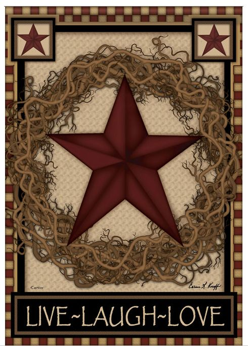 Simply Primitive Wallpaper | Primitive Country Live Laugh Love Barn Star  Twig Wreath House Flag .