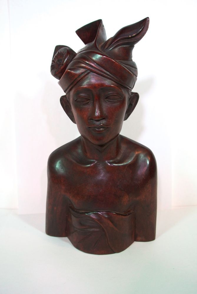 Bust Bali Indonesian Statue Hand Carved Hard Wood Man S