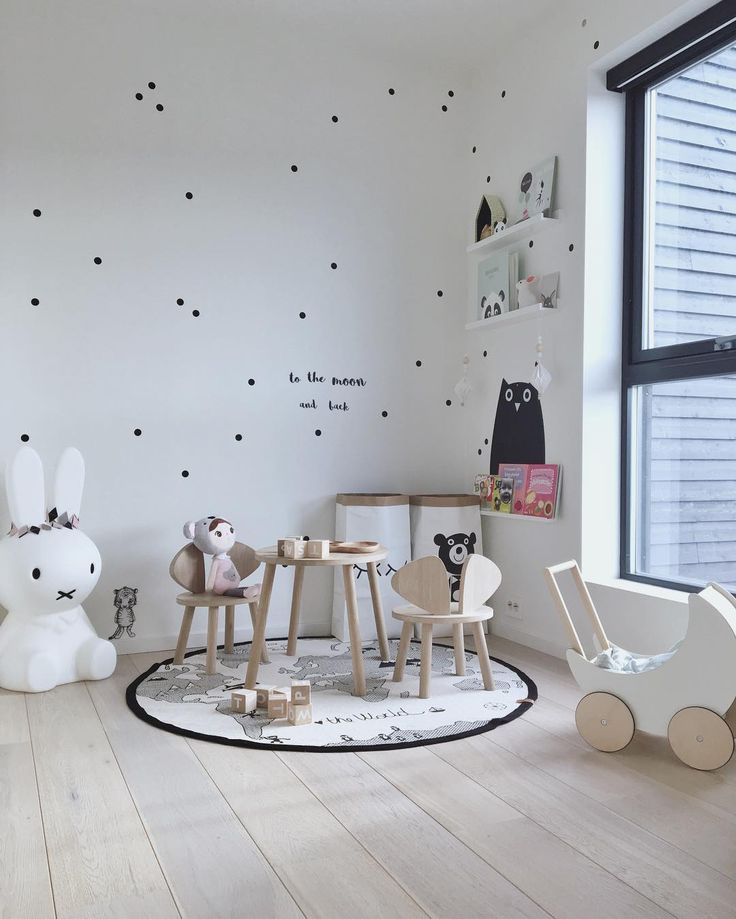 Black and white kids room | Miffy lamp, Ooh Noo toy pram and OYOY The World rug are all available at www.istome.co.uk