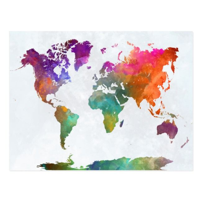 World Map In Watercolor Postcard Zazzle Com In 2020 World Map