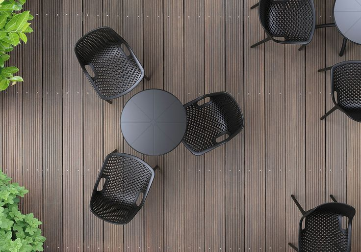 OCTOPUS 60 table is extremely compatible with AIR chair to create a peaceful atmosphere. [Siesta Exclusive | Contract Collection | AIR Chair]