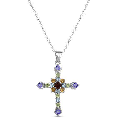 Multi-Gemstone Sterling Silver Cross Pendant, 18 inch, Women's