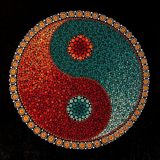 Yin Yang Hand Painted Mandala