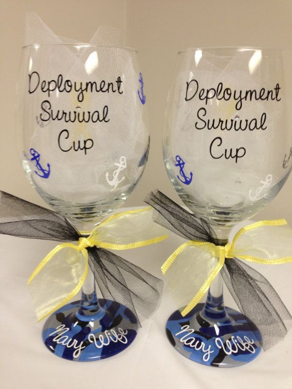 Navy Wife Deployment Survival Wine Glass.... need these.. but with Army not Navy obviously!
