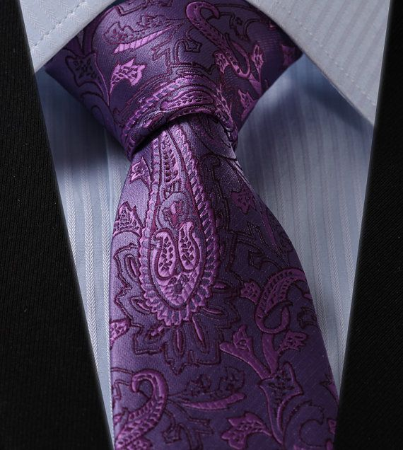 Necktie purple paisley ties, men ties, wedding neckties, formal neckties, groomsmen ties,silk ties on Etsy, $15.00