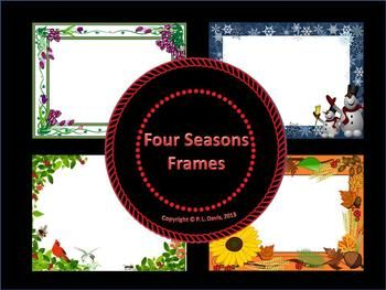 $2 not grade specific Inspired by nature, I have created this non-transparent set of frames celebrating the four seasons: Winter, Spring, Summer and Autumn (Fall). This package of four non-eitable frames would be a good resource to create certificates, frame poetry, writing assignments, cover pages, event announcements, etc